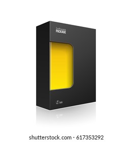Black Modern Software Product Package Box With Yellow Orange Window For DVD Or CD Disk. 3D Illustration On White Background Isolated. Ready For Your Design. Packing. Vector EPS10