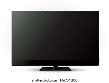 Black modern tv template on white transparent background. LED television technology object