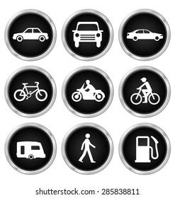 Black modes of transport related icon set isolated on white background