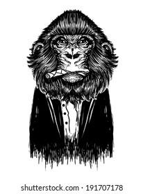 Black monkey vector. Animal print.