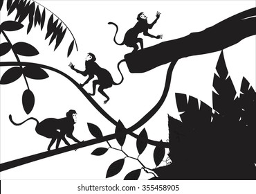 Black Monkeys playing among the tree branches, tree silhouettes, isolated on white