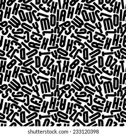 Black monochrome seamless pattern, decorative lowercase letters on white background.