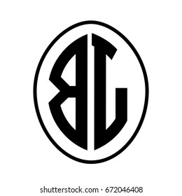 Black monogram curved oval shape initial letter bl logo vector