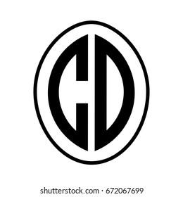 Black monogram curved oval shape initial letter cd logo vector