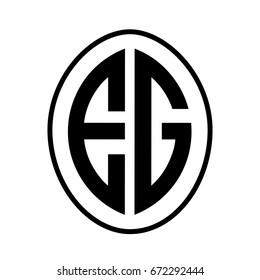 Black monogram curved oval shape initial letter eg logo vector