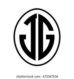 Black monogram curved oval shape initial letter jg logo vector