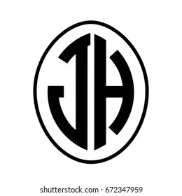 Black monogram curved oval shape initial letter jh logo vector