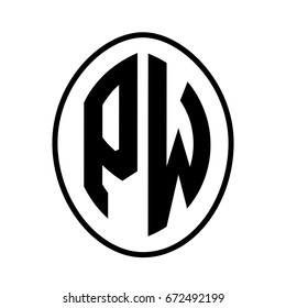 Black monogram curved oval shape initial letter pw logo vector