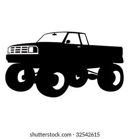 black monster truck, vector illustration