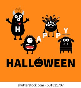Black monsters holding letters. Happy Halloween. Text with pumpkin. Cute cartoon scary silhouette character. Baby collection. Orange background. Greeting card. Flat design. Vector illustration.