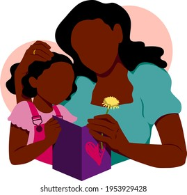 A Black mother receives a Mother's Day card and flower from her young daughter.