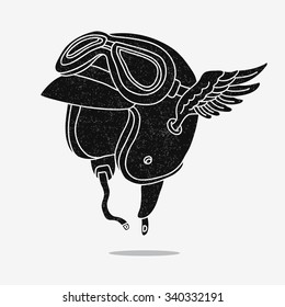 Black motorcycle helmet with goggles and wings. Vector illustration on a white background, painted by hand. Flight concept. Fly glasses print.