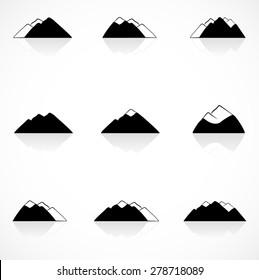 Black mountains icons
