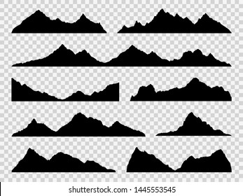 Black mountains silhouettes. Ranges skyline, high mountain hike landscape, alpine peaks. Extreme hiking vector nature border shape drawing hills set