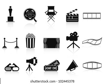 black movies icons set