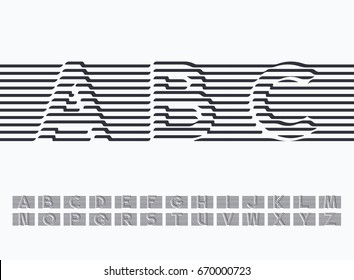 Black moving and wrapped lines latin font, graphical drapery decorative type. Easy to combine into words if necessary.