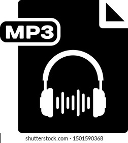 Black MP3 file document. Download mp3 button icon isolated on white background. Mp3 music format sign. MP3 file symbol.  Vector Illustration