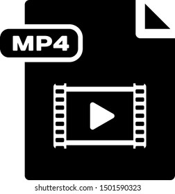 Black MP4 file document. Download mp4 button icon isolated on white background. MP4 file symbol.  Vector Illustration