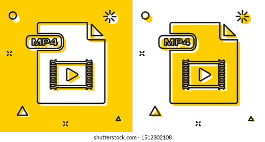 Black MP4 file document. Download mp4 button icon isolated on yellow and white background. MP4 file symbol. Random dynamic shapes. Vector Illustration