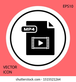 Black MP4 file document. Download mp4 button icon isolated on red background. MP4 file symbol. White circle button. Vector Illustration