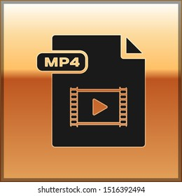 Black MP4 file document. Download mp4 button icon isolated on gold background. MP4 file symbol.  Vector Illustration