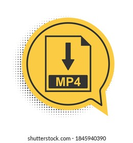 Black MP4 file document icon. Download MP4 button icon isolated on white background. Yellow speech bubble symbol. Vector.