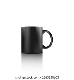 Black mug mockup isolated on white background - realistic coffee cup with dark color for company name text template or dishware merchandise design - vector illustration.