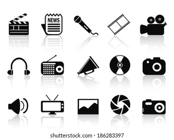 black multimedia icons set
