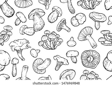 Black mushrooms on a white background. Hand drawing, sketch, seamless autumn pattern.