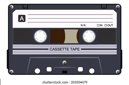 Black music casette, cassette tape, vector art image illustration, isolated on white background, eps10