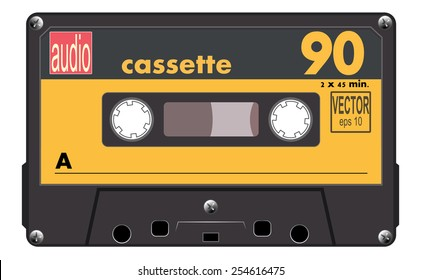 Black music cassette with orange label, audio cassette tape, vector art image illustration, old music technology concept, realistic retro style design. isolated on white background, eps10