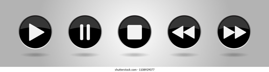 black music control buttons set - five icons with shadows in front of a gray background