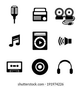 Black Music Icons Vector Illustration