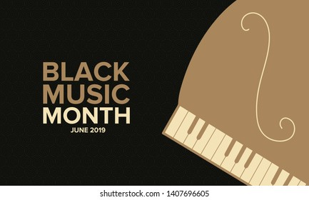 Black Music Month in June. African-American Music Appreciation Month. Celebrated annual in United States. Music concept. Poster, card, banner and background. Vector illustration