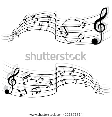 Black Music Notes Shadow On Chords Stock Vector Royalty Free