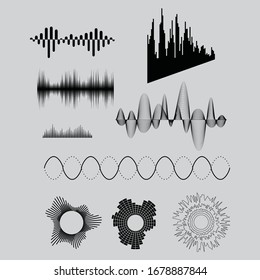 Black music sound waves. Audio technology, musical pulse.Vector.