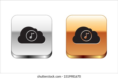 Black Music streaming service icon isolated on white background. Sound cloud computing, online media streaming, online song, audio wave. Silver-gold square button. Vector Illustration