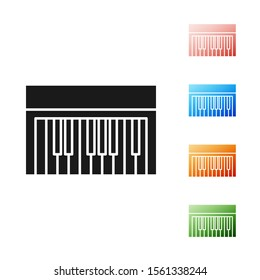 Black Music synthesizer icon isolated on white background. Electronic piano. Set icons colorful. Vector Illustration