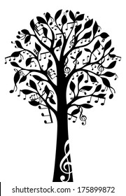 Black music tree isolated on white background. Music notes and treble clefs on tree. Vector illustration.