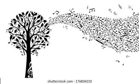 Black music tree isolated on white background. Music notes and treble clefs on tree. Music wave. Vector illustration.
