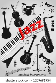 Black musical instruments electric guitar piano keyboard double bass saxophone microphone isolated