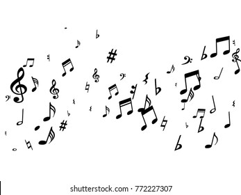 Black musical notes flying isolated on white background. Stylish musical notation symphony signs, notes for sound and tune music. Fresh vector symbols for melody recording, prints and back layers.