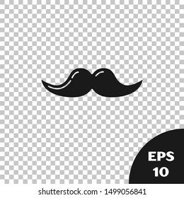 Black Mustache icon isolated on transparent background. Barbershop symbol. Facial hair style.  Vector Illustration