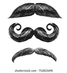 Black mustaches set with some grayish hair. Comic funny shaped moustaches collection. Cool father's day decorative elements. May be used for chat effects. Vector illustration for Your design.