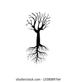 Black naked Tree with Roots. Vector Illustration and graphic elements.