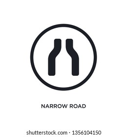 black narrow road isolated vector icon. simple element illustration from traffic signs concept vector icons. narrow road editable logo symbol design on white background. can be use for web