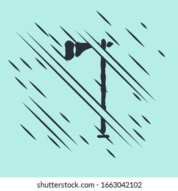 Black Native american tomahawk axe icon isolated on green background. Glitch style. Vector Illustration