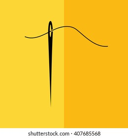 Black needle and thread icon vector illustration. Yellow background