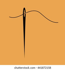 Black needle and thread vector icon illustration