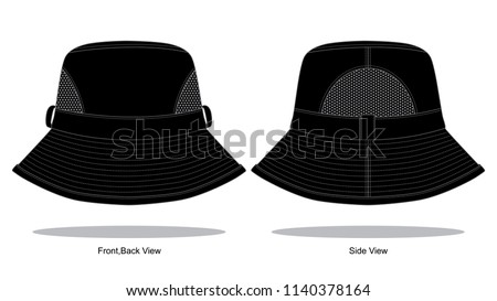 black net bucket hat template stock vector royalty free 1140378164